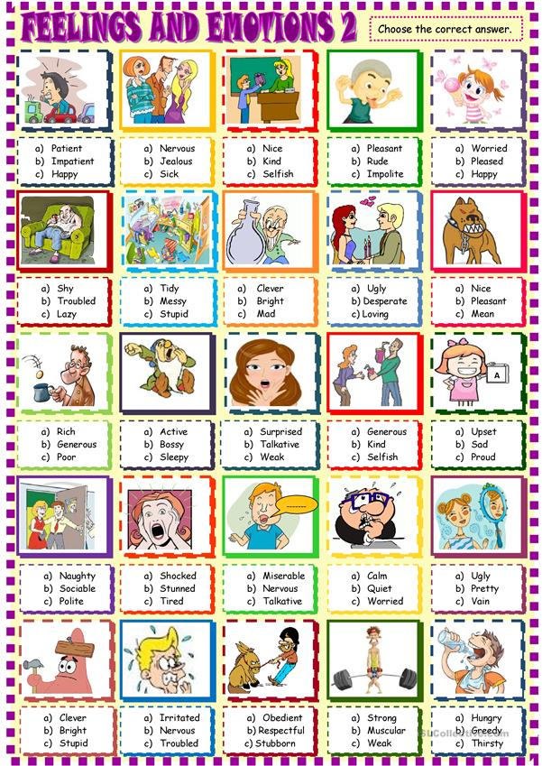 Feelings and emotions multiple choice activity2