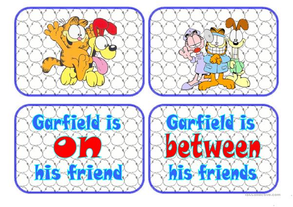 Flashcards Prepositions with Garfield