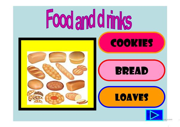 Food ,drinks and groceries :multiple choice activity