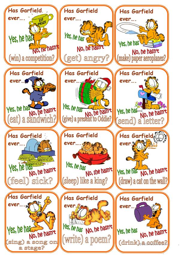 Go fish Present  perfect cards