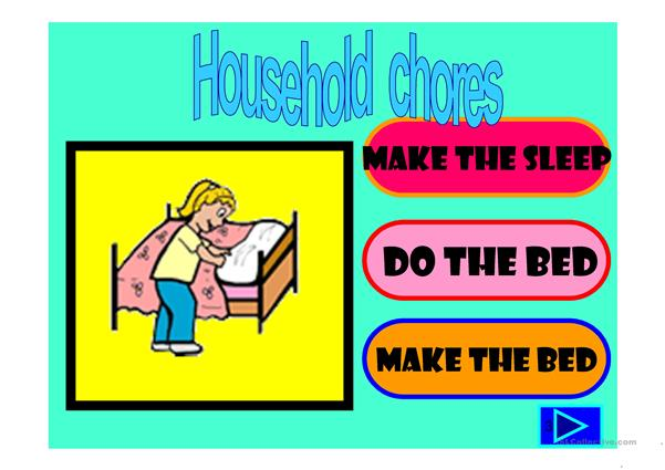 household chores multiple choice activity with a little animation