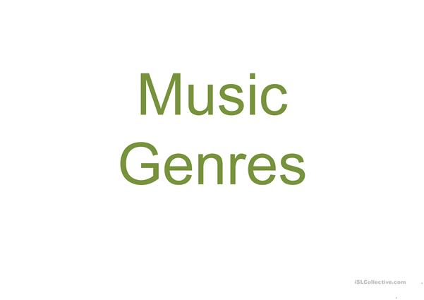 Music genres and vocabulary