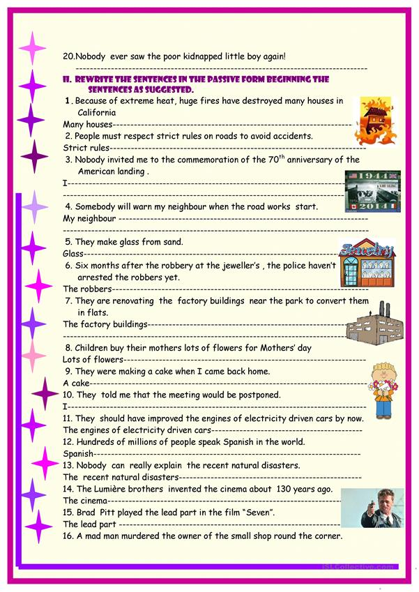 Passive voice , multiple exercises