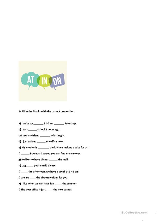 Prepositions - AT-IN-ON