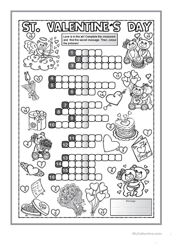 St. Valentine's Day CROSSWORD
