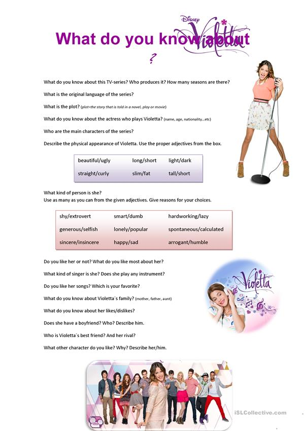 What do you know about Disney´s Violetta? - speaking activity
