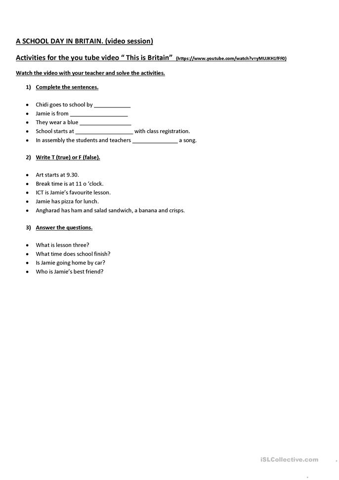 A School Day in Britain. - ESL worksheets