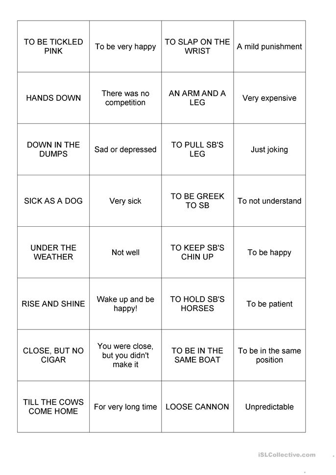 Common Idioms Memory worksheet - Free ESL printable worksheets ...