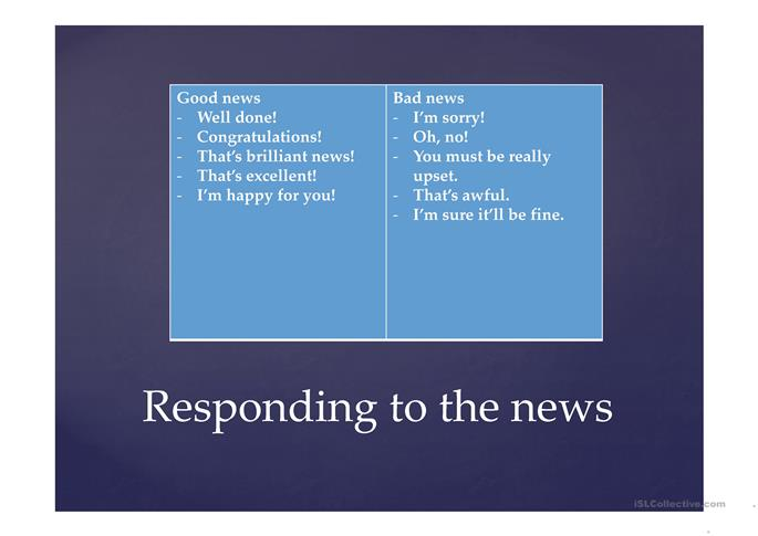 Responding to the news - ESL worksheets