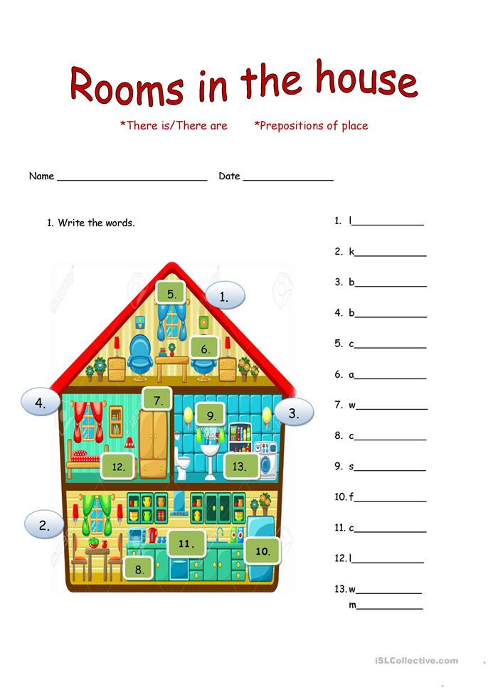 House Rooms Worksheets