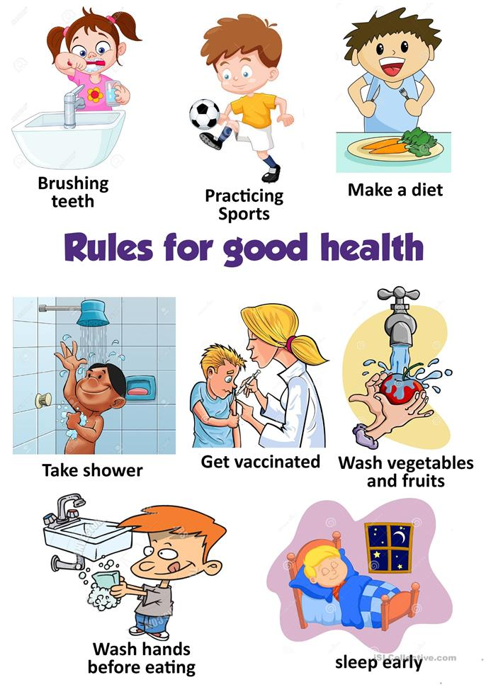 rules for good health worksheet   free esl printable