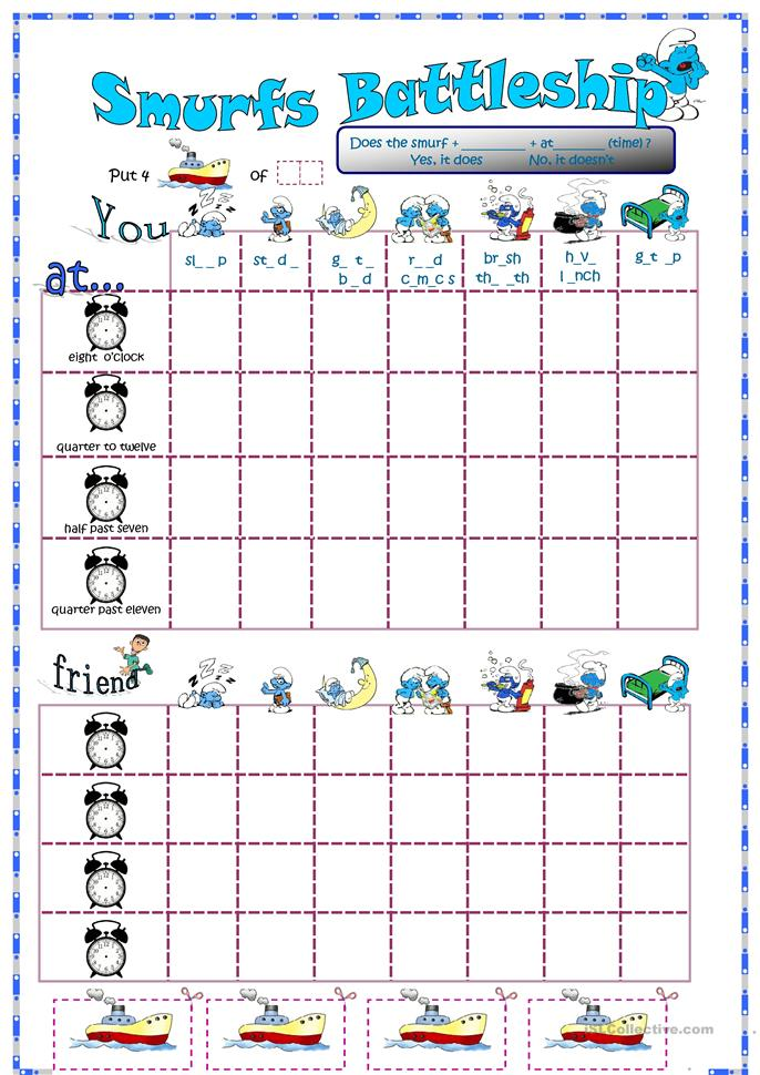 math worksheet : smurfs battleship with daily routines and time ...