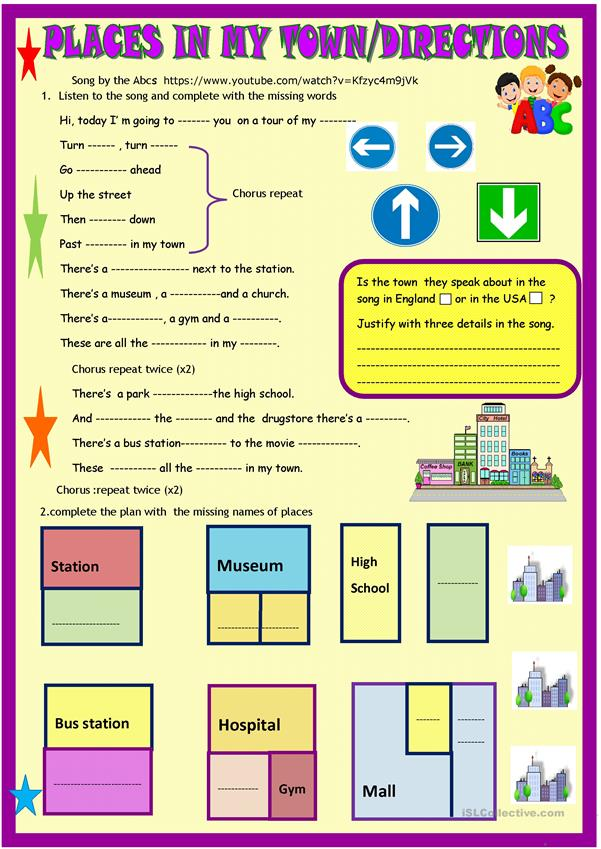 places in my town song directions worksheet free esl printable worksheets made by teachers. Black Bedroom Furniture Sets. Home Design Ideas