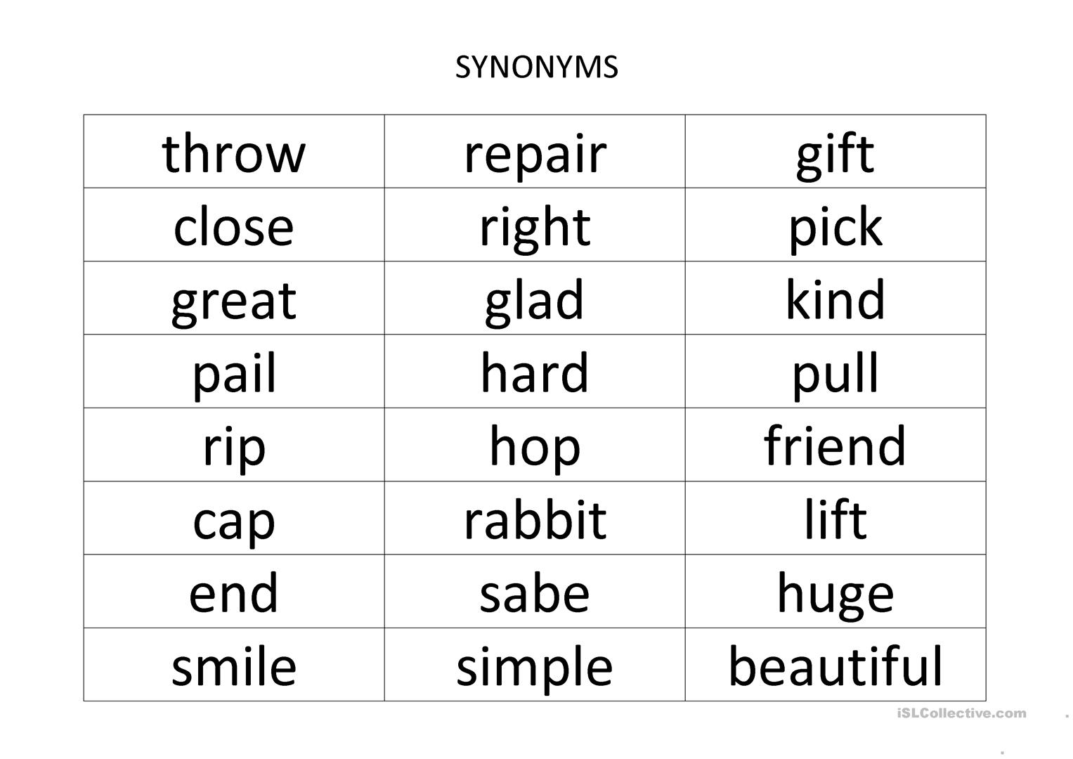 image about Synonyms and Antonyms Printable Games titled Bingo Synonyms - Antonyms - English ESL Worksheets