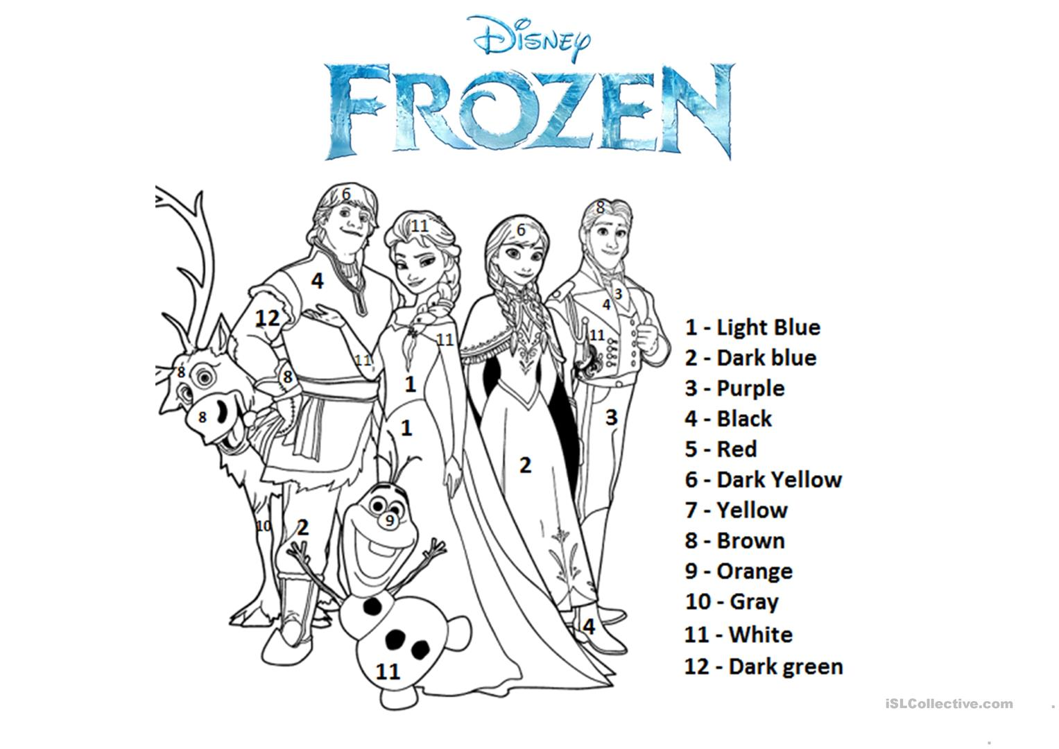 Color By The Number Frozen Worksheet Free Esl Printable Frozen To Color