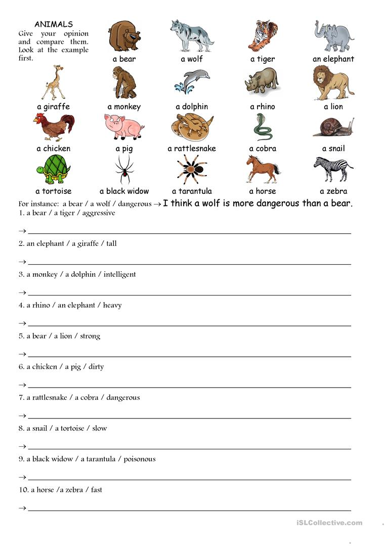 49 Free Esl Comparing Worksheets
