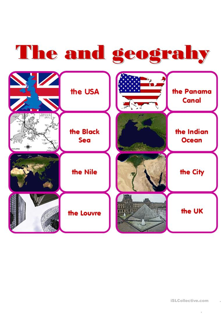 Definite article with Geographical Names. Domino. worksheet - Free ...