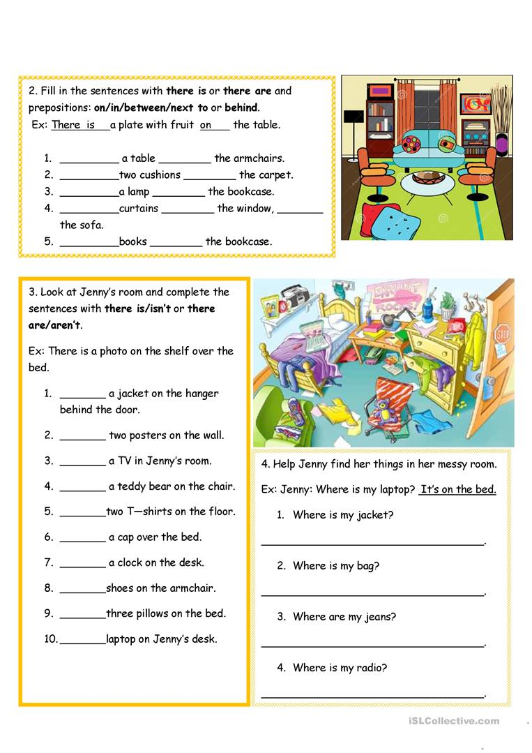 Rooms Worksheet: Rooms In The House- There Is/there Are Worksheet