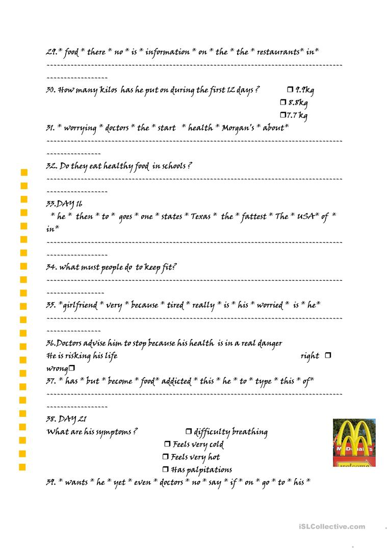 worksheet Supersize Me Worksheet Answers supersize me worksheet free esl printable worksheets made by full screen