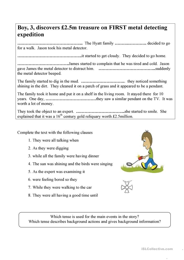 Using the past continuous tense in stories - English ESL