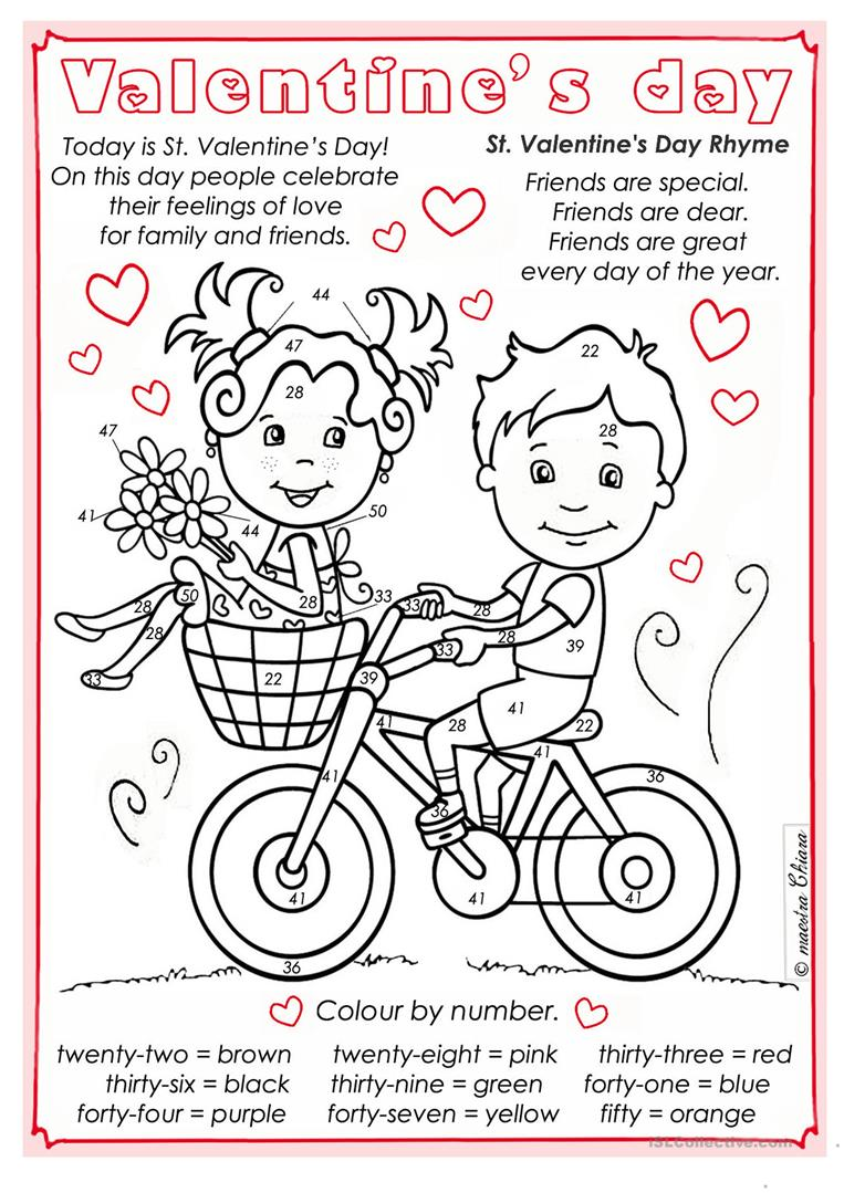 Valentine S Day Colour By Numbers English Esl Worksheets For Distance Learning And Physical Classrooms