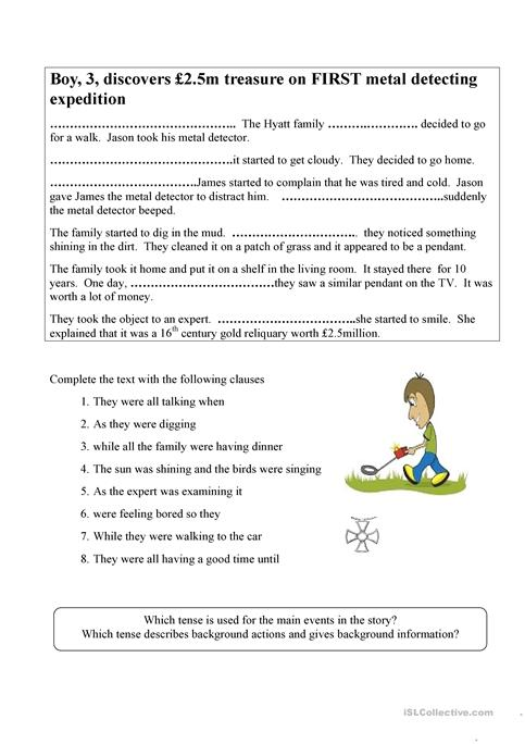 Using the past continuous tense in stories worksheet - Free ESL ...