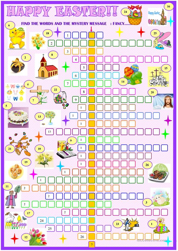 Easter:crossword puzzle with key