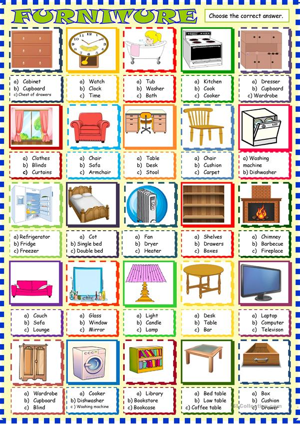 Furniture : multiple choice activity