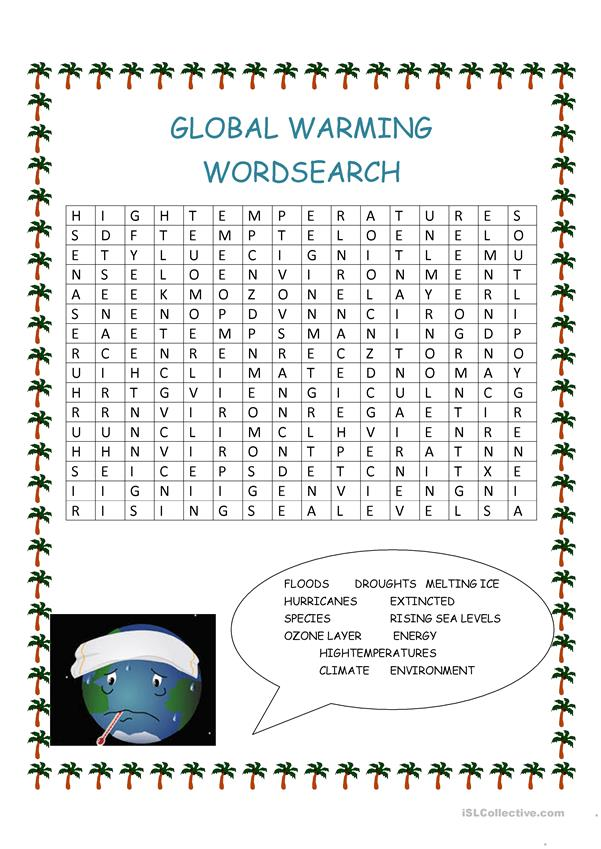 GLOBAL WARMING WORDSEARCH