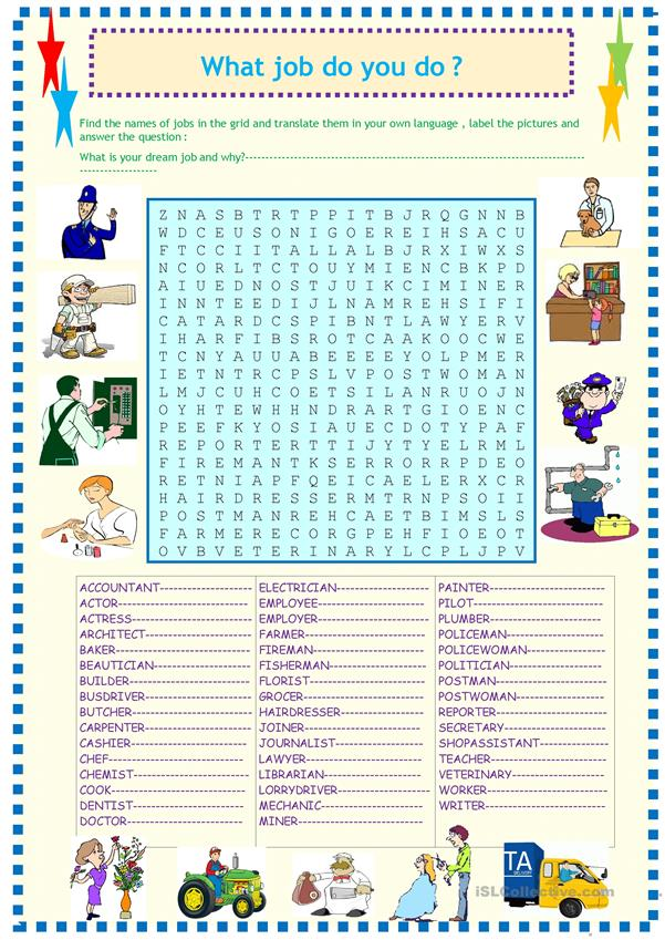 Jobs and occupations wordsearch