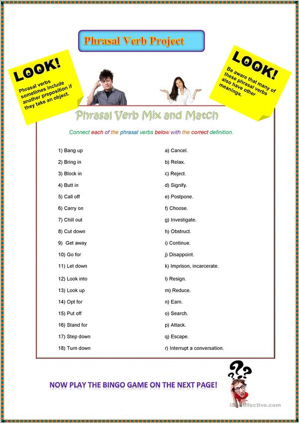 Mixed Phrasal Verb Project