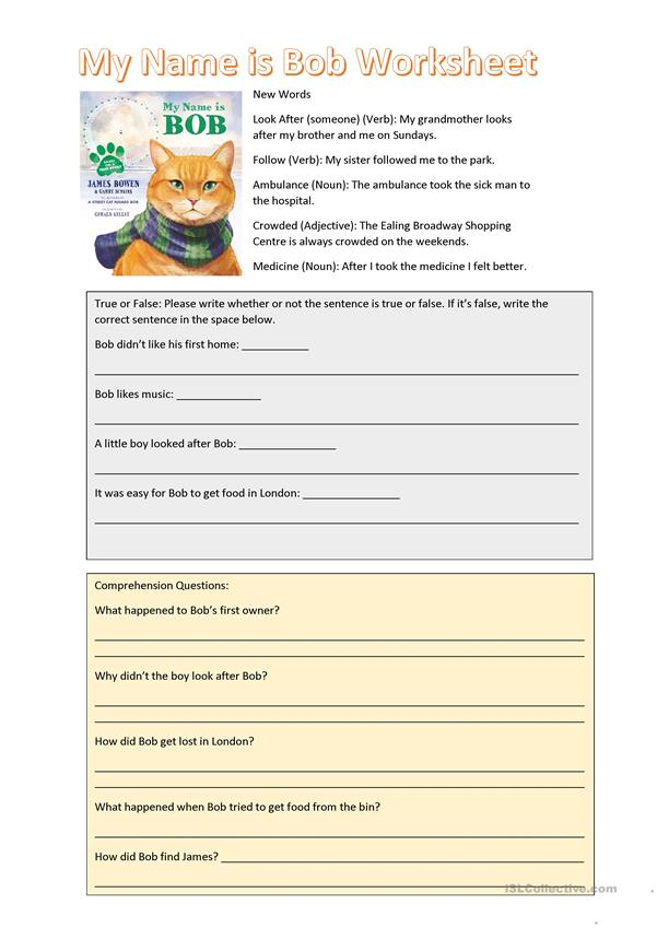 My Name is Bob Story Worksheet