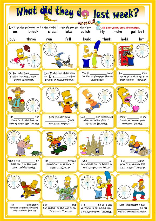 Past Simple with the Simpsons (irregular verbs)