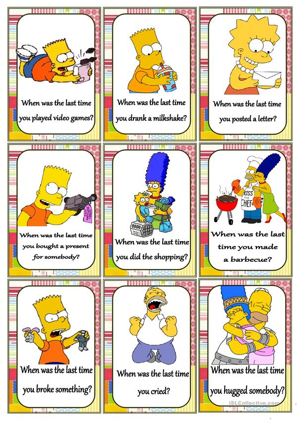 Past Simpsons Card Questions