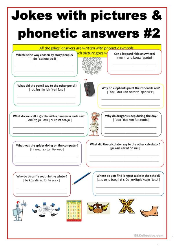 Phonetics - Jokes with phonetically written answers #2