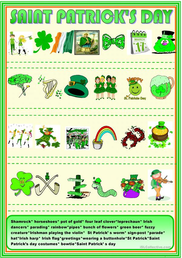 Saint Patrick's day matching activity