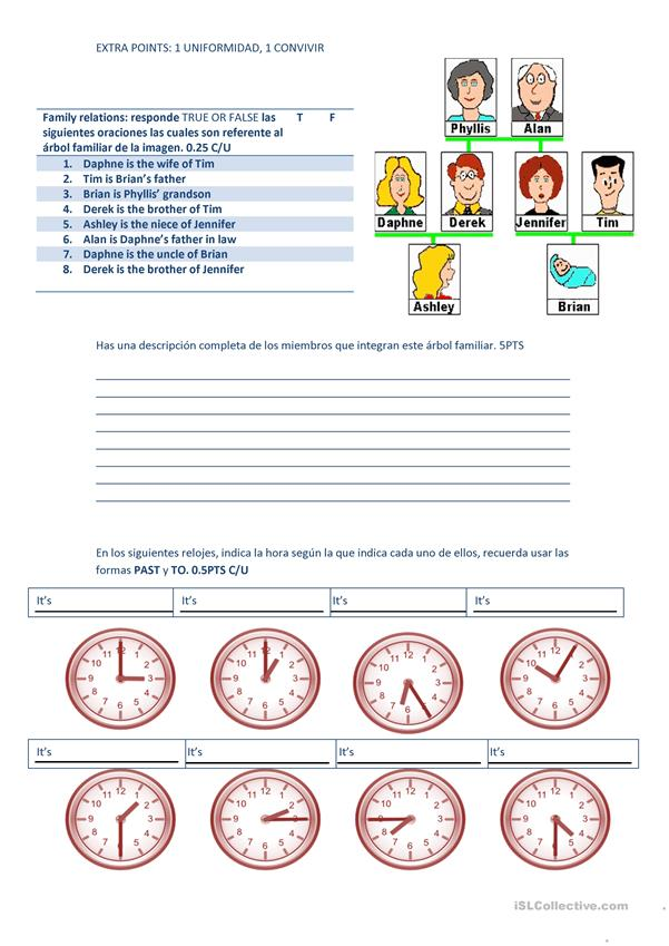 test (family, prepositions, countries, the time)