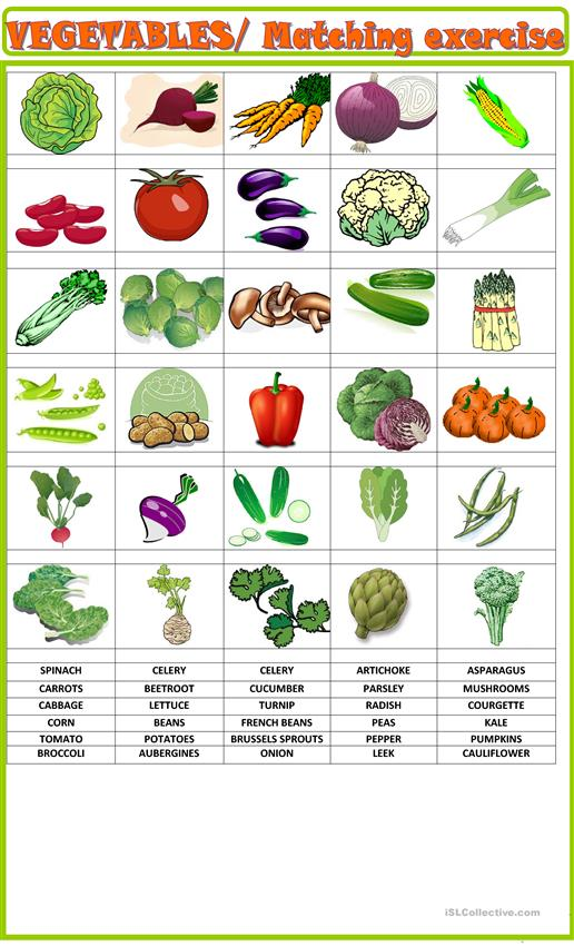 Vegetables: matching  activity