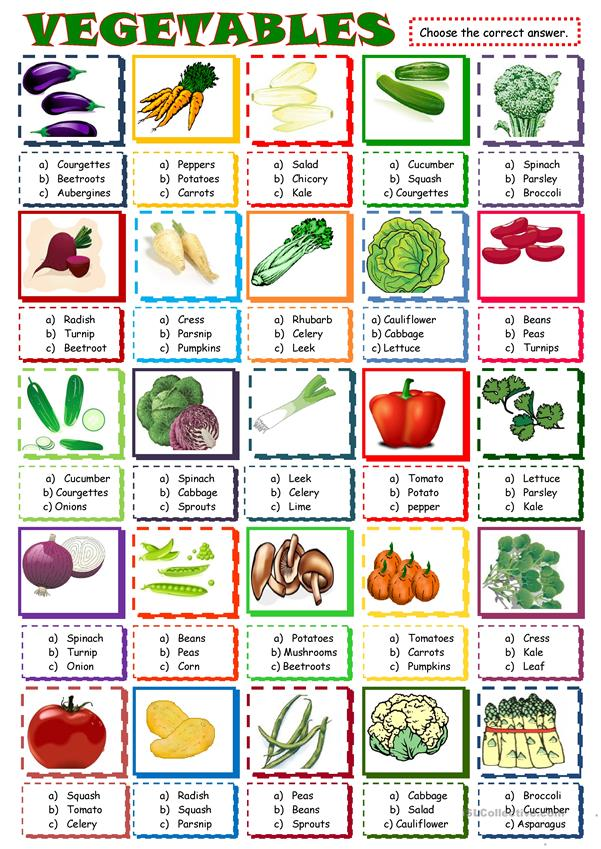 Vegetables: multiple choice activity