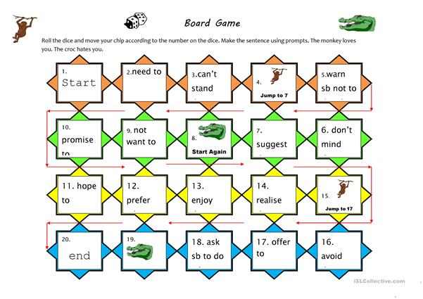 Verb pattern board game
