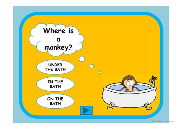 Where is a monkey.Prepositions
