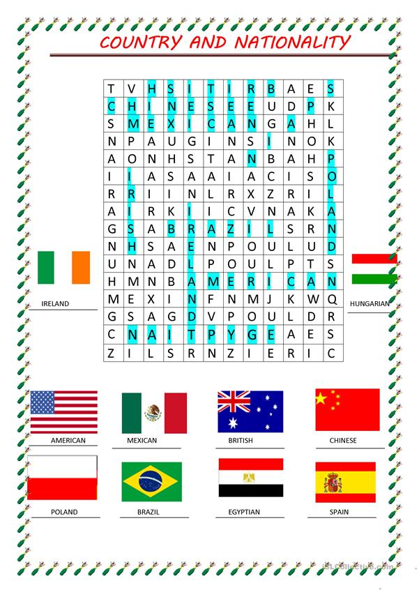 word search nationality