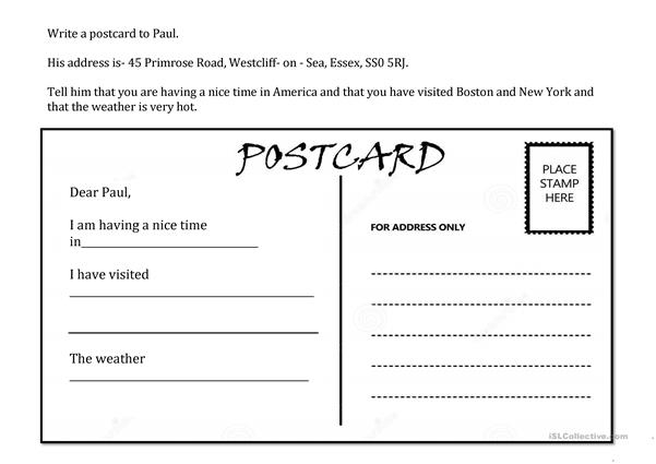 Writing a postcard