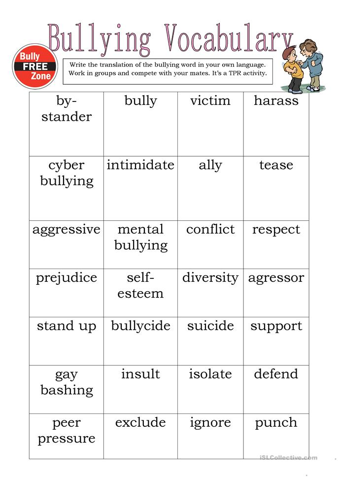 Worksheet Anti Bullying Worksheets 38 free esl bullying worksheets vocabulary