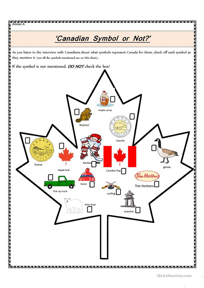 Canadian Symbol or Not? - ESL worksheets