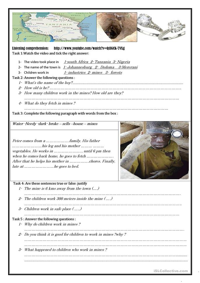 picture comprehension on child labour Name_____ reading comprehension lesson most children help with the work in their homes they do things like washing clothes, cleaning the house, shopping, cooking, looking after very young children, and working in the shamba  does the author think that child labour is good or.