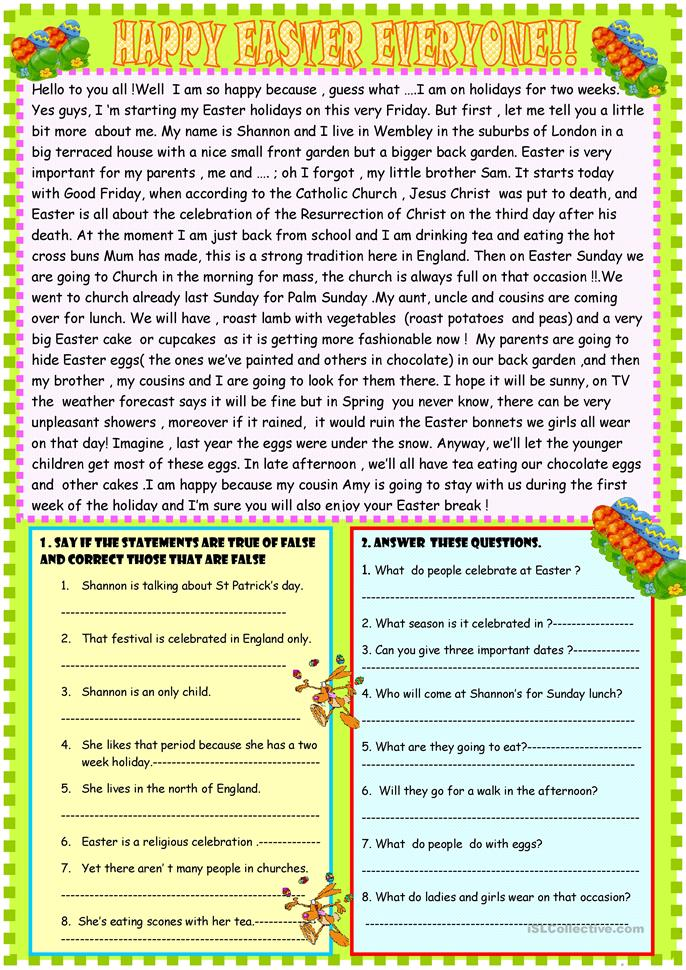 Elementary Homework Worksheets : Easter homework year seamo official