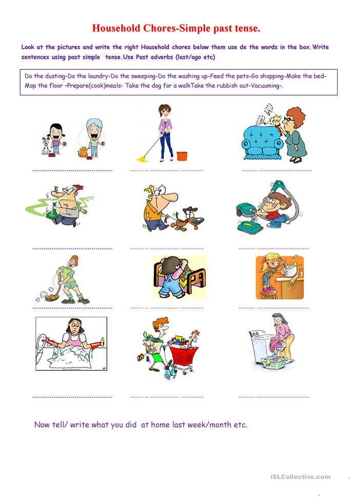 Printables Special Needs Worksheets worksheets for special needs scalien english teaching household chores past simple worksheet free esl printable