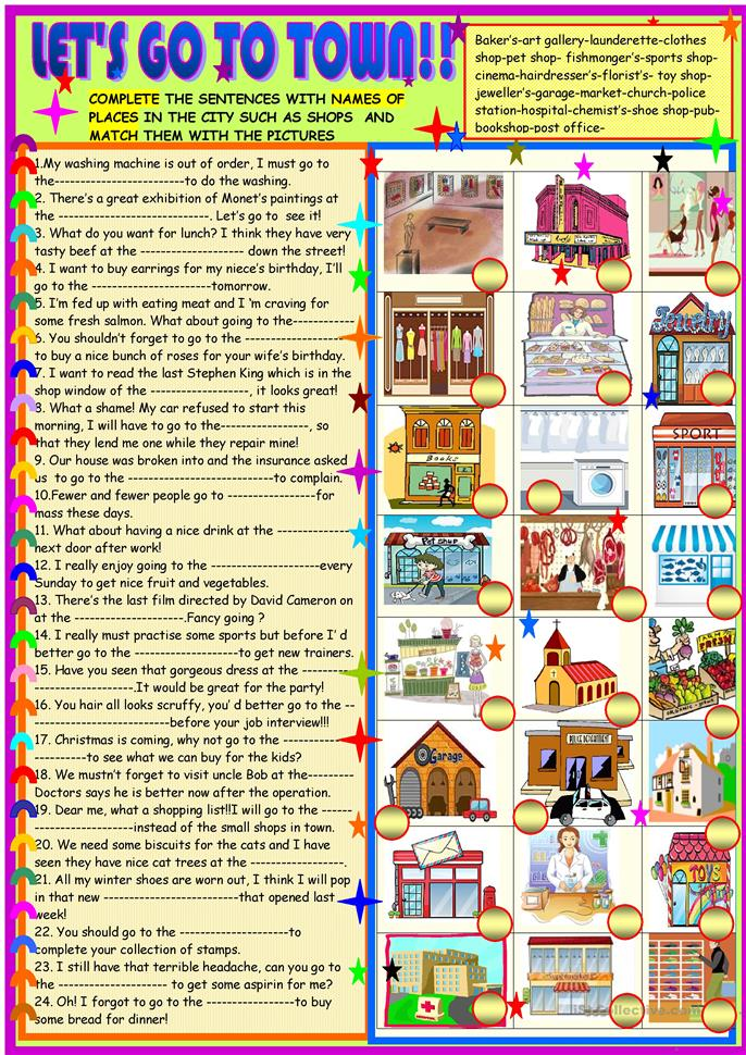 let 39 s go to town find the places matching the definitions worksheet free esl printable. Black Bedroom Furniture Sets. Home Design Ideas