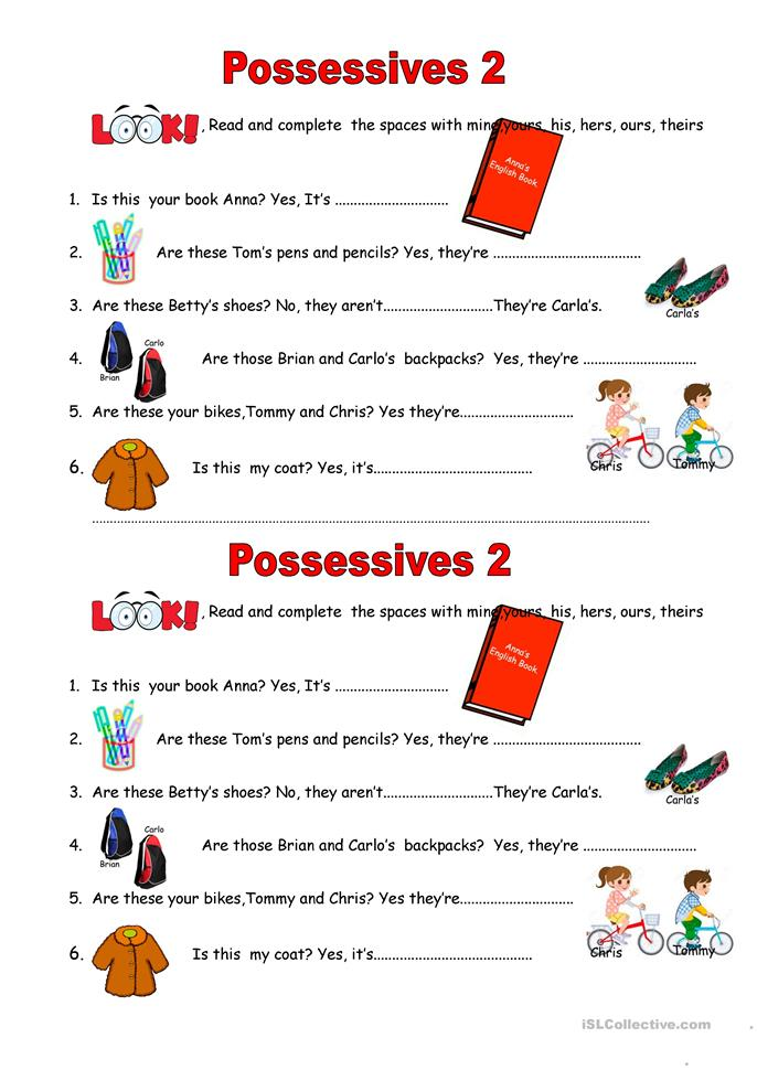 Printable Special Needs Worksheets : Possessives worksheet free esl printable worksheets
